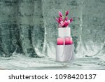 white wedding cake with flowers ... | Shutterstock . vector #1098420137