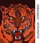roaring tiger face | Shutterstock .eps vector #109843883