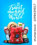 travel around the world poster... | Shutterstock .eps vector #1098439817