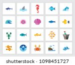 marine life concept. flat icon... | Shutterstock .eps vector #1098451727