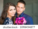young happy caucasian couple... | Shutterstock . vector #1098454877