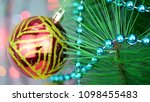 red baubles on christmas tree.... | Shutterstock . vector #1098455483