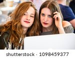 two young and trendy hipster...   Shutterstock . vector #1098459377