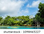 outdoor basketball court in the ...   Shutterstock . vector #1098465227
