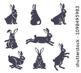 set of cute rabbits silhouettes ... | Shutterstock .eps vector #1098495983