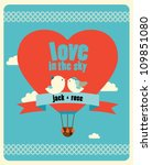 Wedding invitation card with birds on hot air balloon - stock vector