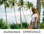 girl on vacation  indian ocean. ... | Shutterstock . vector #1098514613