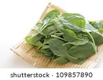 Freshness spinach sprout from Japan Tochigi Prefecture on bamboo basket - stock photo
