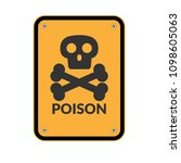 poison warning icon and orange... | Shutterstock .eps vector #1098605063
