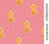 seamless pattern with leopard...   Shutterstock .eps vector #1098653543
