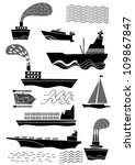 modern ship set - stock vector