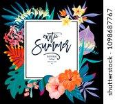 vector summer leaves vintage... | Shutterstock .eps vector #1098687767