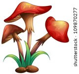 Illustration Of Red Mushrooms...