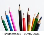 color pencil  on white background . photo - stock photo