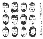12 set of vector bearded men... | Shutterstock .eps vector #1098747707