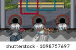 water pollution from city drain ... | Shutterstock .eps vector #1098757697
