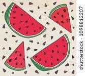 sweet juicy watermelon. summer... | Shutterstock .eps vector #1098812207