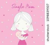 happy single mom carrying her...   Shutterstock .eps vector #1098839507