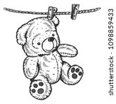 teddy bear drying on rope...   Shutterstock .eps vector #1098859433