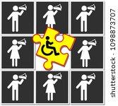 discrimination of disabilities. ...   Shutterstock . vector #1098873707