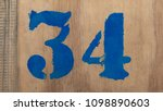 the number 34 is written in... | Shutterstock . vector #1098890603