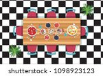 top view dinner on the wooden...   Shutterstock .eps vector #1098923123
