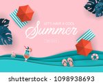 summer sale banner design with... | Shutterstock .eps vector #1098938693