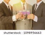 business group cheers  wine... | Shutterstock . vector #1098956663