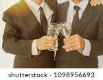 business group cheers  wine... | Shutterstock . vector #1098956693