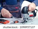 professional technician working ... | Shutterstock . vector #1098957137
