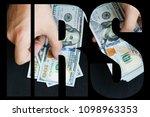 hand recount dollars. the man... | Shutterstock . vector #1098963353