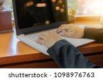 close up of business woman hand ... | Shutterstock . vector #1098976763
