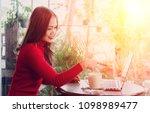 beautiful business women on... | Shutterstock . vector #1098989477