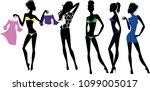 silhouettes of fashionable... | Shutterstock .eps vector #1099005017
