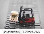 forklift with shopping cart... | Shutterstock . vector #1099066427