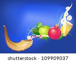 rosh hashana traditional holiday still life, apple, honey and shofar - stock vector