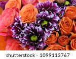 a floral bouquet with orange... | Shutterstock . vector #1099113767