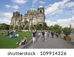 BERLIN, AUGUST 6: Berliner Dom,or Berlin Cathedral. on August 6, 2012.  It was built between 1895 and 1905. The current building replaced in 1894. - stock photo