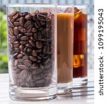black iced coffee  cold latte ... | Shutterstock . vector #1099195043