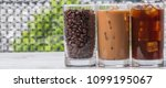 black iced coffee  cold latte ... | Shutterstock . vector #1099195067