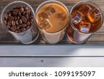 black iced coffee  cold latte ... | Shutterstock . vector #1099195097