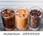 black iced coffee  cold latte ... | Shutterstock . vector #1099195103