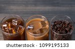 black iced coffee  cold latte ... | Shutterstock . vector #1099195133