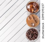 black iced coffee  cold latte ... | Shutterstock . vector #1099195157