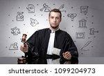 handsome judge with court... | Shutterstock . vector #1099204973