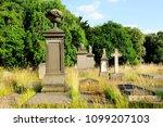 gravestones and crosses under... | Shutterstock . vector #1099207103