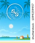 beach sea with villa beautiful... | Shutterstock .eps vector #1099259957