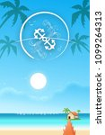 beach sea with villa beautiful... | Shutterstock .eps vector #1099264313