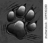 Dark animal paw print and scratches on black, vector illustration - stock vector