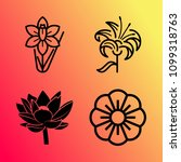 vector icon set about flowers... | Shutterstock .eps vector #1099318763